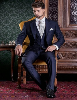 fe21a28499 Estilo clásico dos Botones azul marino novio Esmoquin groomsmen hombres boda  prom Trajes novio (chaqueta + Pantalones + + chaleco + lazo) k  1152