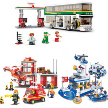 Educational DIY Toys for children Building Blocks Fire Department office self-locking bricks Compatible with Lego