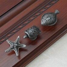 Черепаха Рыба Морская звезда Ручка комод ручка круглые ручки для ящиков ручка кухонный шкаф дверные рукоятки в античном стиле Серебряный черный оловянный животное