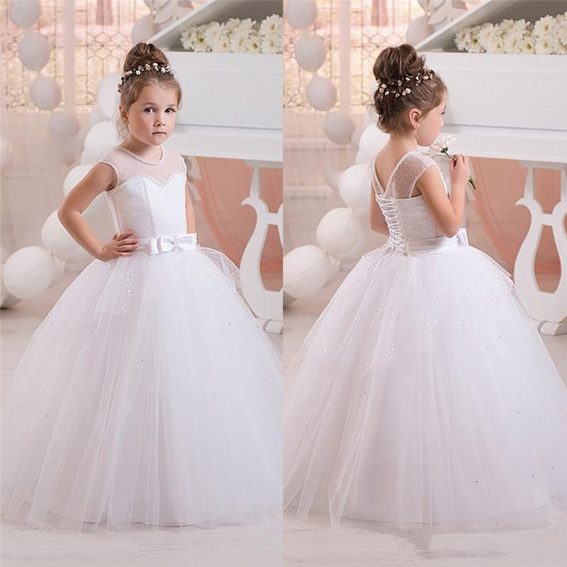 fashion White sleeveless birthday Flower Girl Dress for Weddings Tulle Kids First Communion Pageant party Dresses