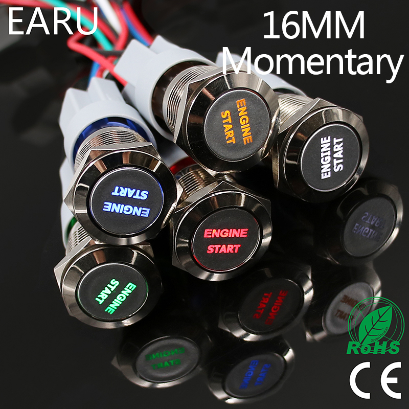 1pc 16mm Waterproof Stainless Steel Metal LED Momentary Power Push Button Switch Racing Car Auto Motorcycle Engine Start Starter 16mm metal annular push button switch ring led 5 380v 12v 6v self lock momentary latching waterproof car auto engine