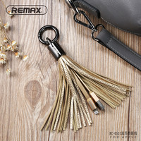 Remax Leather Tassel USB Cable Metal Ring Key Chain Charging Data Cord Charger Cables For Apple