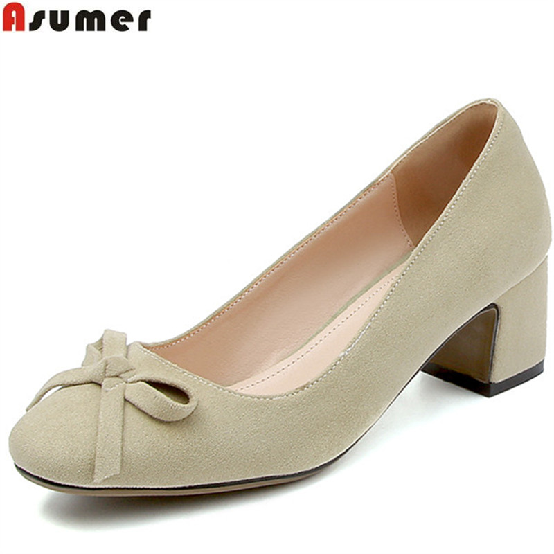 ASUMER 2018 fashion spring autumn new shoes woman square toe shallow casual pumps women shoes flock high heels shoes big size asumer gold silvery fashion square toe buckle ladies single shoes spring autumn women high heels shoes big size 32 44