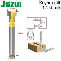 """2 sztuk 1/4 """"Shank T-Slot frez Router Bit uchwyt ze stali 3/8'' i 1/2 ''długość frezy do obróbki drewna do elektronarzędzi"""