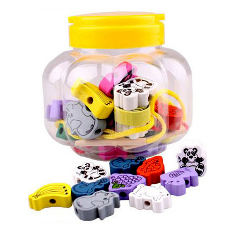 24pcs Kids Funny Colored Wooden Animal Shape Beads Stringing Threading Bead Toy For DIY Jewelry Bracelet Making Educational Toys