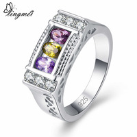 lingmei New Colorful Beatiful Red Gold Champagne & Purple Olive Green White CZ Silver Color Ring Size 6 7 8 9 Women Jewelry Gift