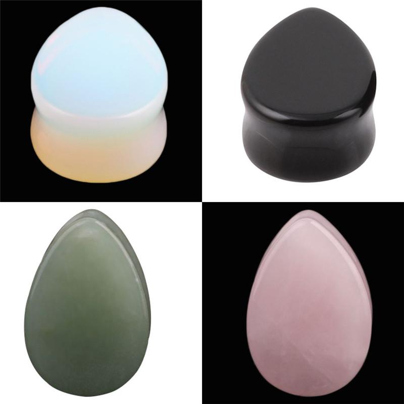 Double Flared Tear Drop Green Stone Pear Ear Flesh Plug Stretcher Earring opal glass ear gauges tunnels