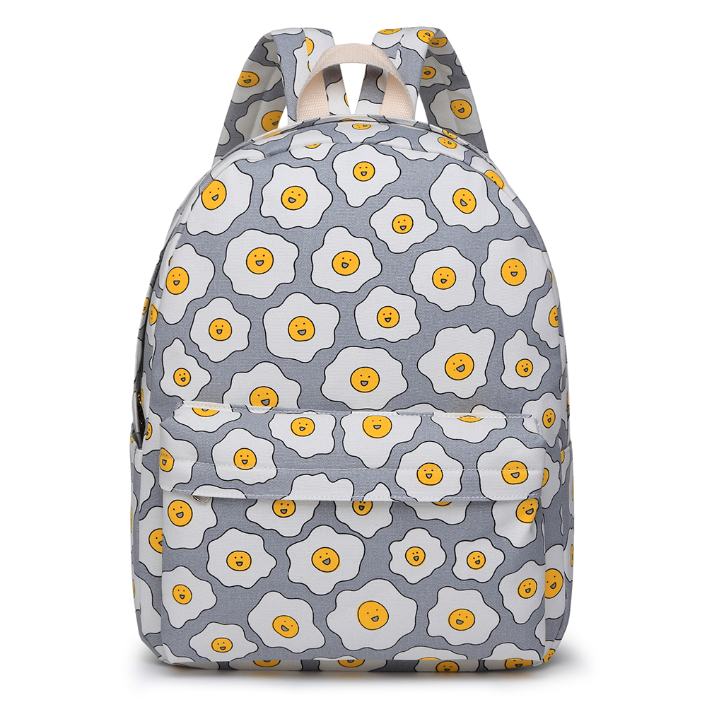 new casual egg printing thickening twill canvas backpack women