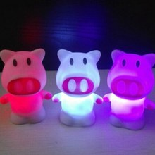 Lovely Colors Changing LED Little Pig Night Light Decoration Candle Lamp Nightlight Great Gift For Kids Crafts 8.5*5*6cm(China)