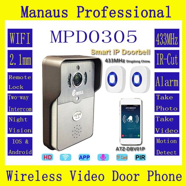 Full Duplex Audio Rainproof Video Door Phone Outdoor WIFI Monitor Intercom Doorbell with 720P PIR HD IP Camera ATZ DBV01P 433MHz