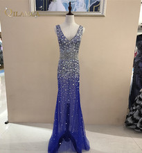 Long Evening Dress 2018 Long Mermaid Crystal Beaded Sexy V Neck Formal Party Prom Gown Vestido de Festa Robe de Soiree
