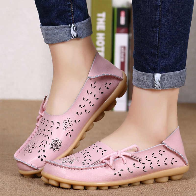 Tamaño grande 34-44 2018 primavera mujer zapatos planos mujer cuero genuino zapatos planos para mujer recorte femenino Slip On Ballet mocasines planos