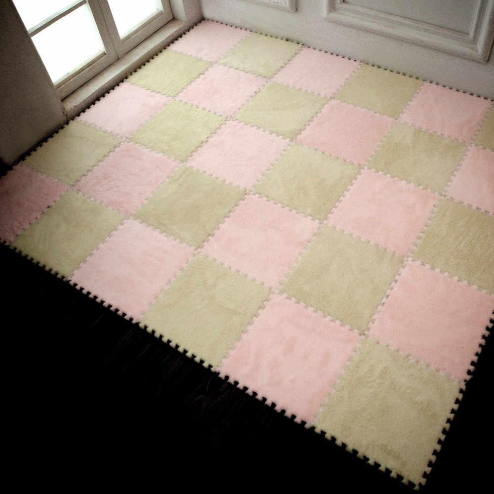 30 × 30 センチメートル子供カーペットの泡のパズルマット EVA ベルベットベビーフロアリビングルーム寝室パッチワークフロア保育園ラグマット 1.282