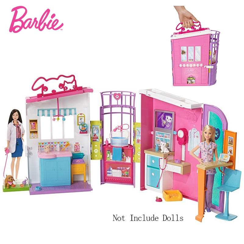 Accessoires de poupée d'origine centre de soins pour animaux de compagnie maison de poupée Kit mignon chambre bébé fille jouets Barbie pour enfants Poppenhuis Casa de Bonecas