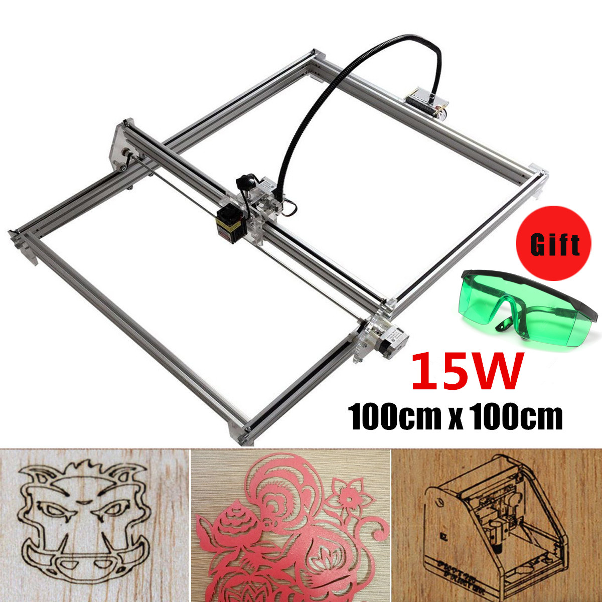 12V 15W 100x100cm DIY Laser Engraving Machine CNC Engraver Marking Machine Printer Wood Router for Printer Cutting and Engraving 10w laser engraver metal laser marking machine cnc router with 140 200mm engraving area for stainless steel aluminum marking