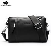 Bison Denim 100 Genuine Leather Guarantee Crossbody Bag Black Messenger Bag Men S Clutch Bag Zipper