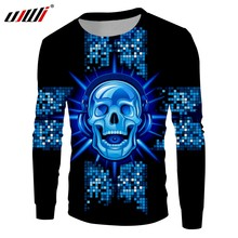 UJWI New Funny Blue Glitter Sweatshirt 3D Printed Man Hip Hop DJ Skulls  Best Selling Mens Pullover Wholesale Unisex Tracksuit 1df049e39126