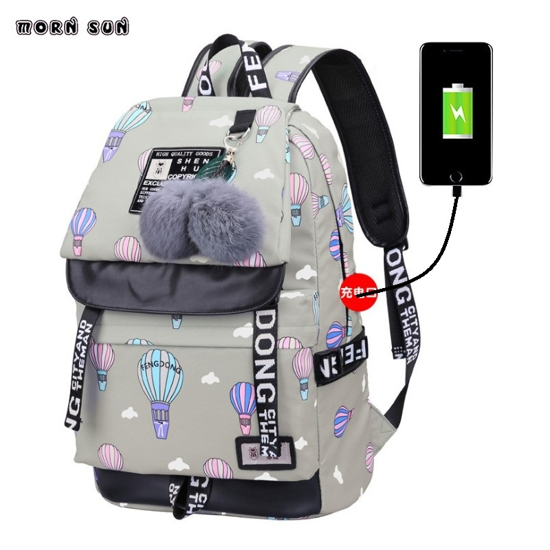 New Schoolgirl Schoolbag Usb Jack Backpack  For Teenage Girls Female School Shoulder Bagpack Anti Theft Backpack Rugzak