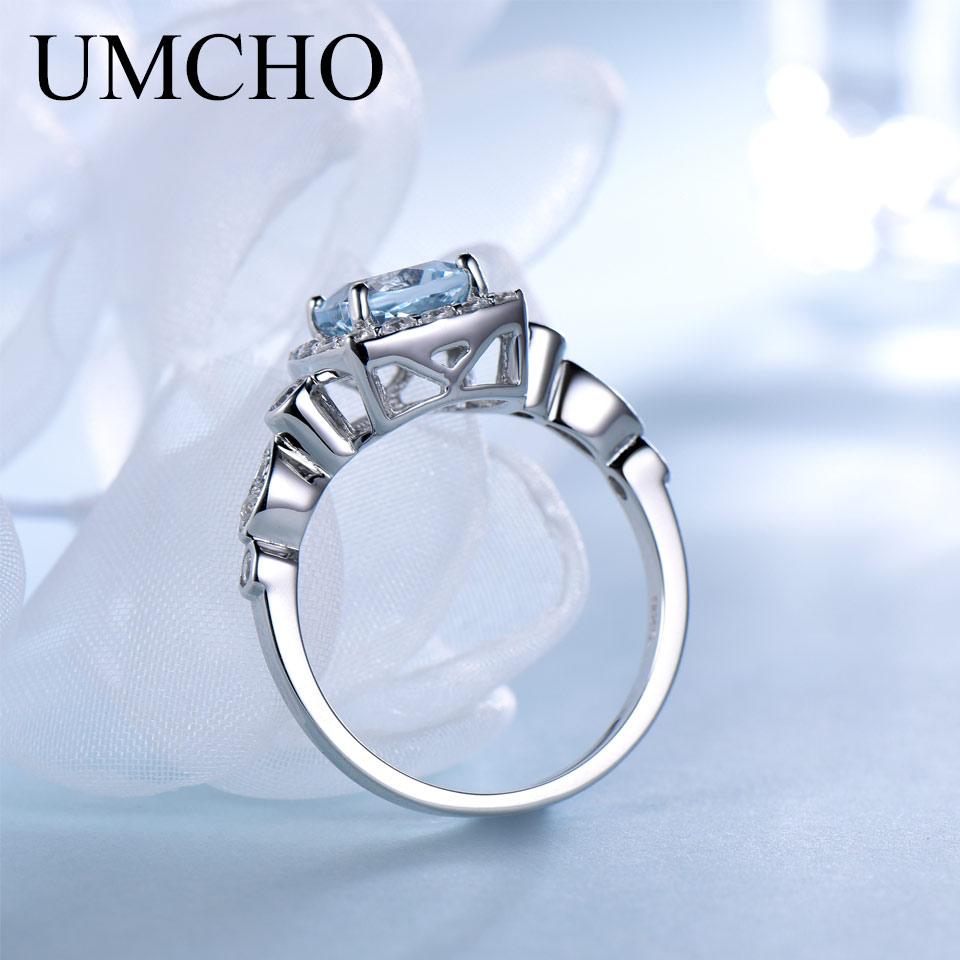 UMCHO Real S925 Sterling Zilveren ringen voor vrouwen Blue Topaz Ring - Fijne sieraden - Foto 2