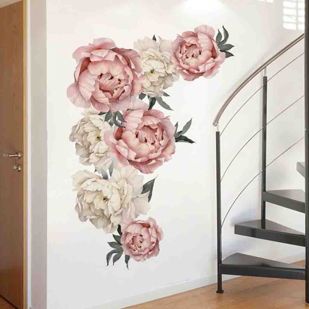 Peony Flowers Wall Sticker Art Removable Nursery Decals Kids Room Home Decor DIY