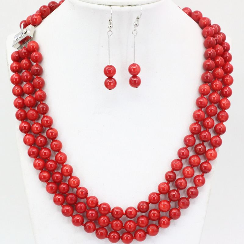 New 7mm natural red coral round beads 3 rows necklace dangle earrings jewelry set for women weddings party gifts 17-19 B3455 classical malachite green round shell simulated pearl abacus crystal 7 rows necklace earrings women ceremony jewelry set b1303