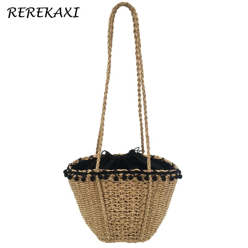 REREKAXI New Handmade Bohemian Beach Bag For Women Cute Woven Shoulder Bags Summer Handbags Drawstring Basket Bag Travel Tote black drawstring bucket woven beach bag