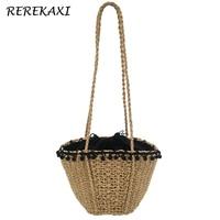 REREKAXI New Bohemian Beach Bag For Women Cute Handmade Straw Bags Summer Grass Handbags Drawstring Basket