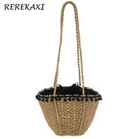 REREKAXI New Bohemian Beach Bag For Women Cute Handmade Straw Bags Summer Grass Handbags Drawstring Basket