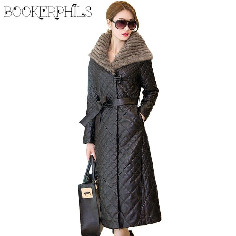 Autumn Winter Jacket Women Coats Fur Collar Plus Size Black Winter Coat Ladies Waterproof Long   Parka   Soft PU Leather Jacket 5XL