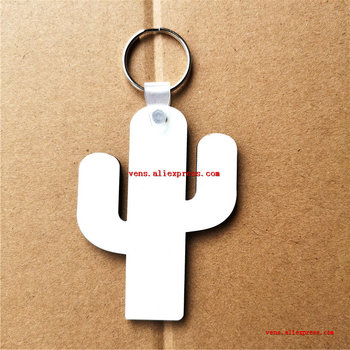 new arrival sublimation blank mdf keychains cactus shape key ring hot transfer printing blank consumables 100pcs/lot
