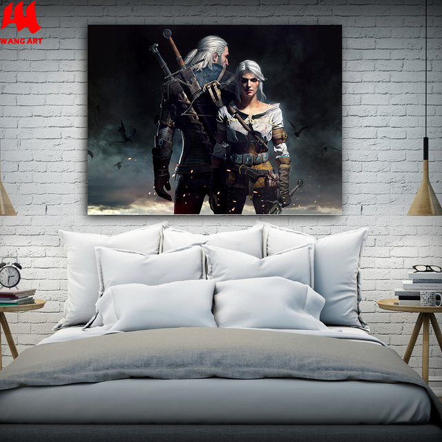 WANGART the Witcher 3 Canvas Print Hunting Wild Game Cirilla Geralt Wall Pictures for Living Room Modern Home Decor JY617-625 2