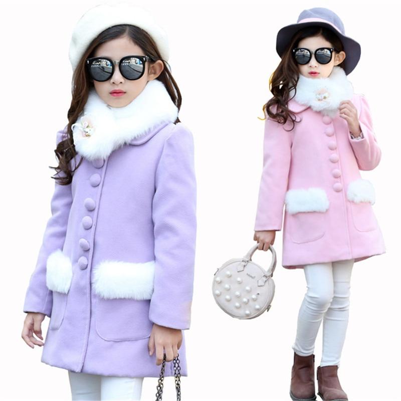 Autumn Winter Children Girls Faux Fur Collar Coat Baby Girl Cardigan Jacket Kids Woolen Thicking Warm Cotton Padded Outwear Y14 open front faux fur embellished sleeveless cardigan