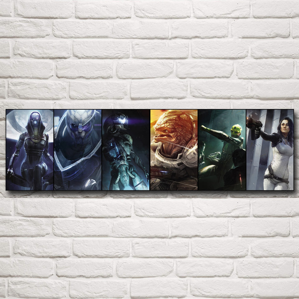 FOOCAME Mass Effect 2 3 4 Hot Shooting Action Game Art Silk Poster Pictures Bedroom Living Room Wall Decor 12x43 15x53 Inches(China)
