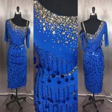 Женское платье для латинских танцев, синее платье с наклонным плечом и рукавом до локтя для латинских танцев, ча Румба, Самба, танго, танцевальные платья