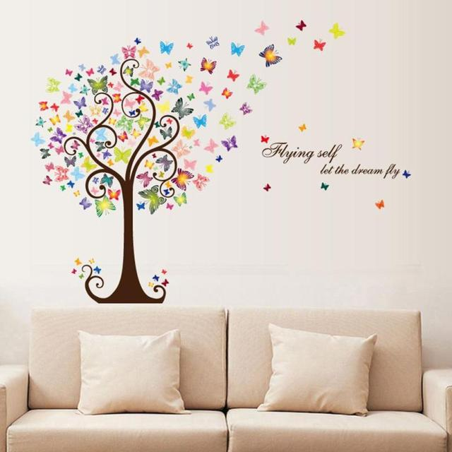 Glass Front Kids Room Decor: % DIY Butterfly Tree Animal Wall Sticker For Kids Room