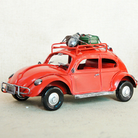 Metal Classic Beetle Travel Car Model 26x15.5x13cm Handcrafted Collectible Cars Ornament For Home Decoration Christmas Gift