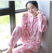 Pajama Women Thick Flannel Warm Female Winter Pajama Set Long Sleeve Full Trousers Two Piece Pajamas Animal Cartoon  2019 animal print pajama set