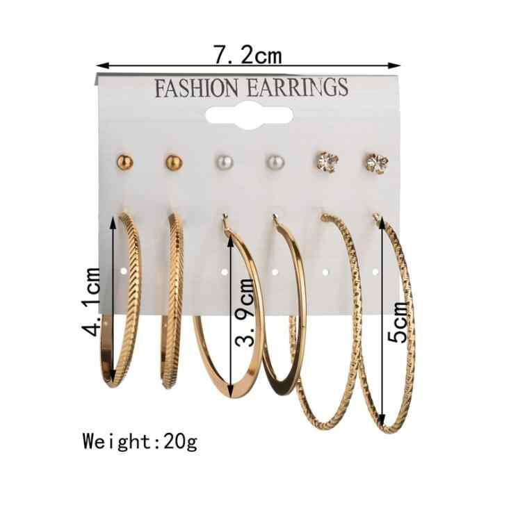 2018 Hot 6 Pairs 1 Set Fashion Punk Crystal Stud Earrings For Women Men Vintage boho Koyle Simulated Pearl Clip Cuff Earring Set