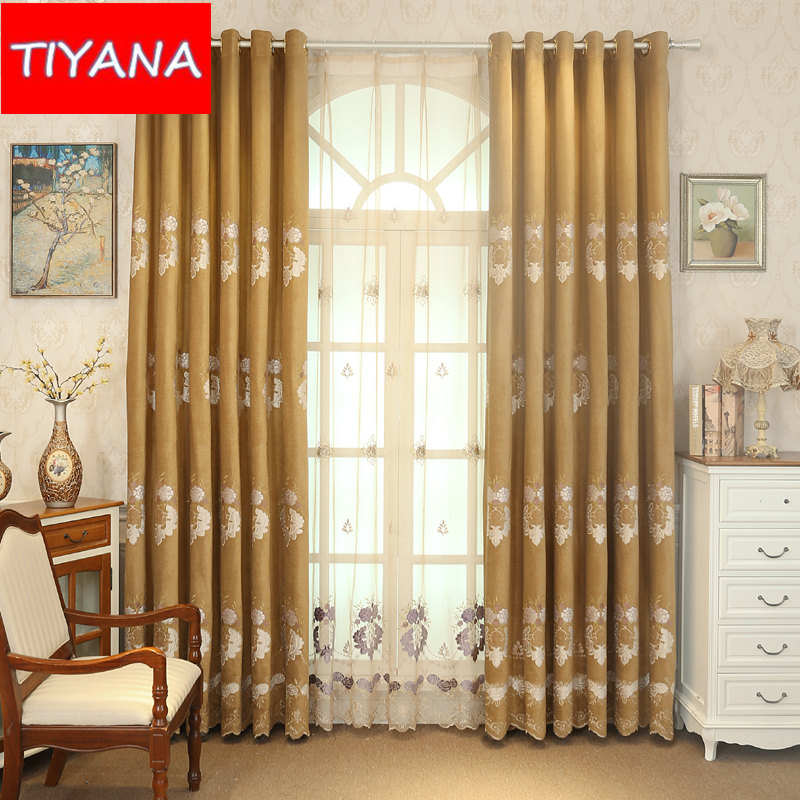 European Luxury Window Eyelets Curtains For Living Room Embroidery Blinds Blackout Curtain Fabric Tulle Bedroom WP24930