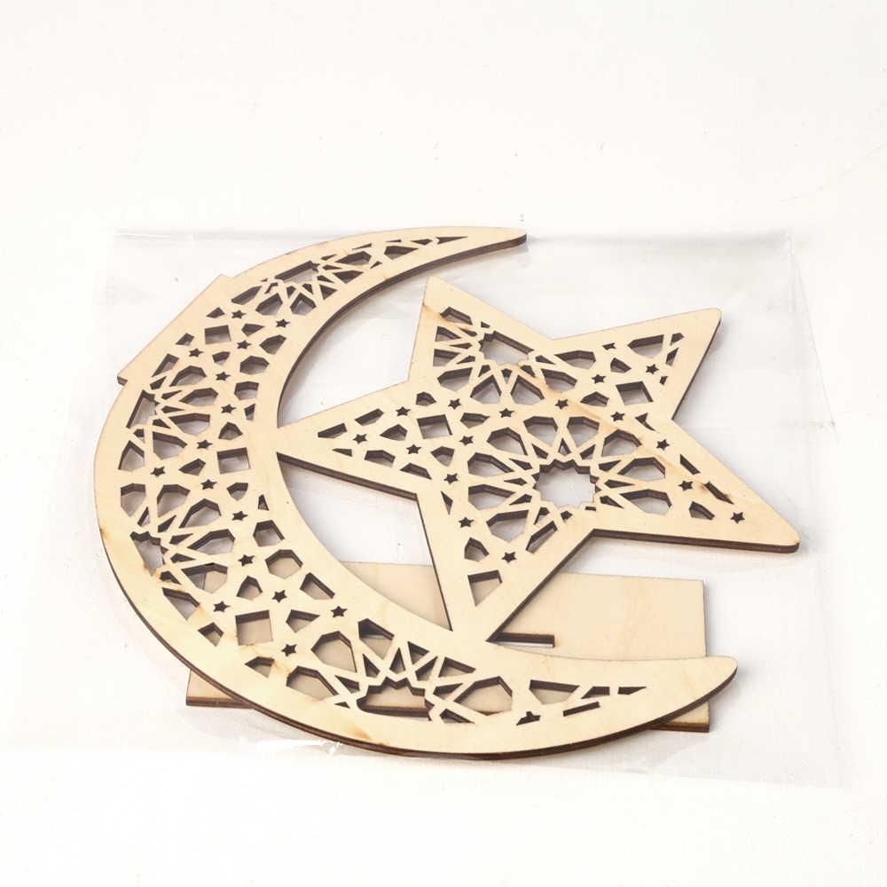 Houten Ramadan Eid Mubarak Moon Star Moskee Moslim Home Decoratie Ornament Diy Hout Ambacht Thuis Opknoping Hanger Supplies