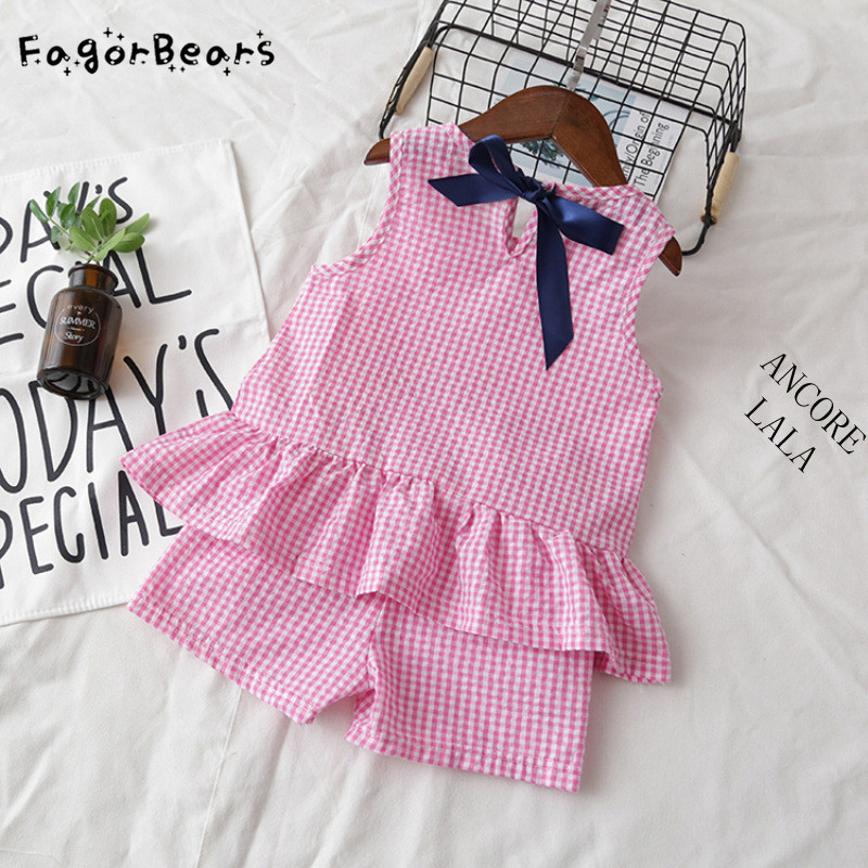 FagorBears Summer Style Princess Girls Clothings Sets Childrens Chothings Sleeveless Plaid Shirt+Shorts 2Pc For Kids Clothes ...