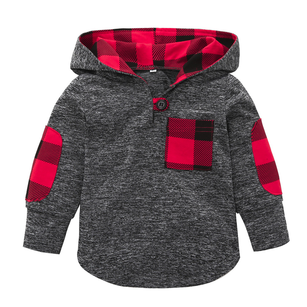 2018 Fashion Lattice Stitching Toddler Kid Baby Girl Plaid Hoodie Pocket Sweatshirt Pullover Tops Warm Clothes High Quality 20 kangaroo pocket skull print pullover hoodie