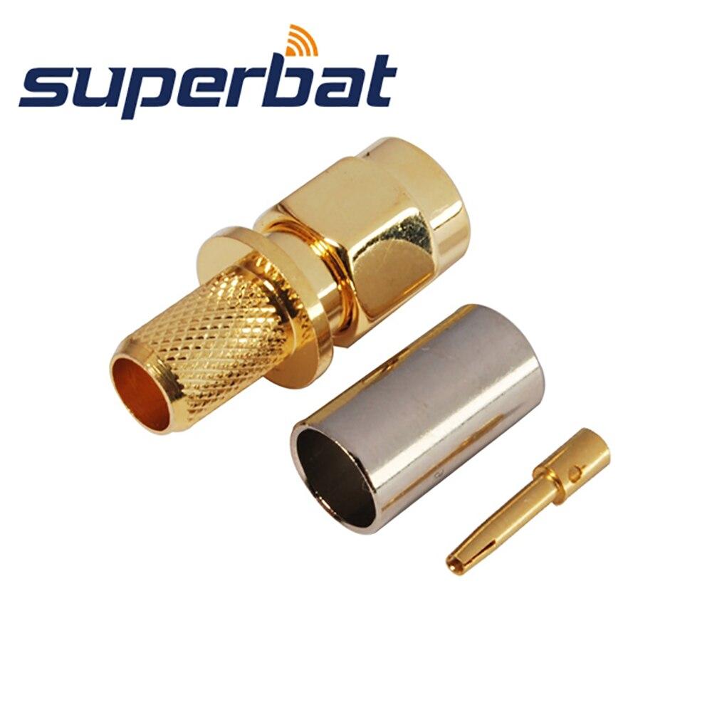 10PCS SMA Type Male Crimp Teflon Insulation Nickel Plated Gold Pin New RG58