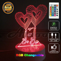 3D Visual Bulb Optical Illusion Colorful LED Table Lamp Remote Romantic Holiday Light Love Heart Wedding Gifts Decor Unique