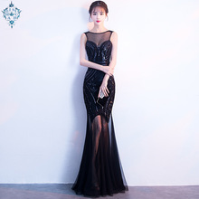 Ameision robe de soiree Sequins Beading Evening Dresses Mermaid Long Formal Prom Party Dress 2019 New Style Vestidos Noiva