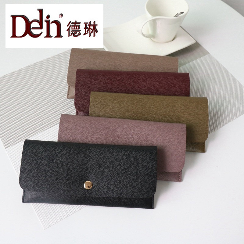 DELIN Factory direct wholesale long wallet female Korean version of the simple Pu wallet lychee Mini Mini folder free shipping factory direct sales good quality new spring summer 2016 korean version brand men straight jeans cheap wholesale