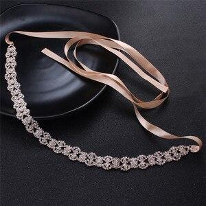 Image 3 - Jonnafe Rose Gold Color Women Prom Dress Waist Sash Rhinestone Bridal Headband Belt Wedding Accessories