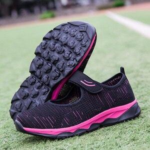 Image 4 - Женские кроссовки; Летняя повседневная обувь из сетчатого материала; Дышащие женские лоферы на плоской подошве; Удобная прогулочная обувь; Высокое качество; Zapatos