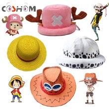 Coshome One Piece Luffy Yellow Straw Boater Beach Hats Tony Chopper Trafalgar Law White Plush Cap Ace Orange West Cowboy Hats