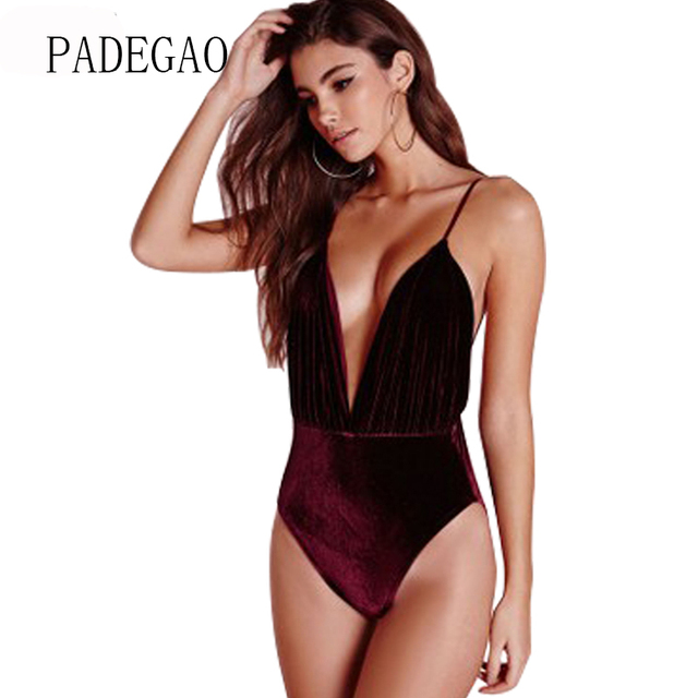 Velours Sexy Serré Body Femmes Velours Tops Profonde V Cou Sling Dos Nu  Salopette Salopette Barboteuses 8b2433d16f7